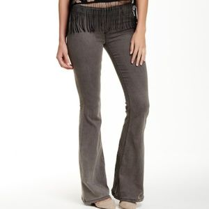 free people pull-on flare pants gray black nwt